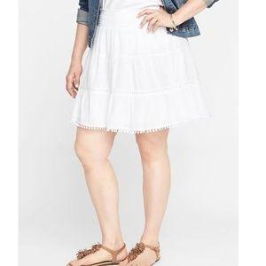Dresses & Skirts - plus size white pom pom tiered skirt